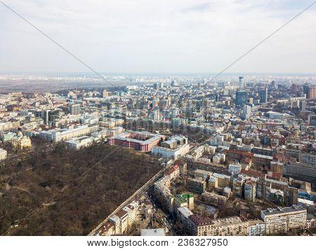 Kiev, Ukraine - April 7, 2018: aerial view panoramic view of the city.University of Taras Shevchenko, Botanical Garden and Vladimir Church stock photo