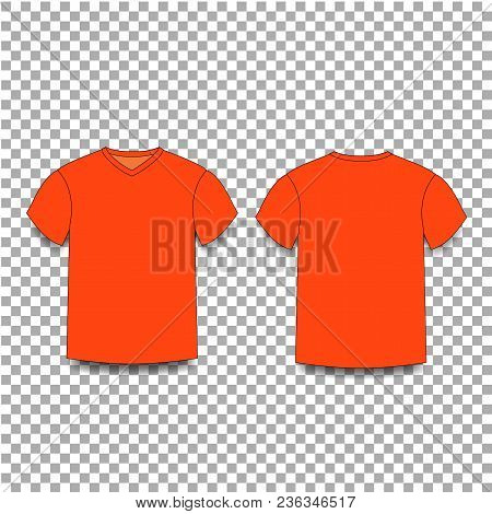 Orange Male T Shirt Template V Neck Front And Back Side Views