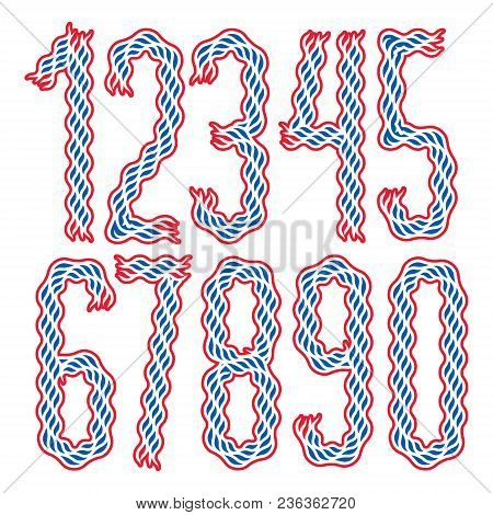 Set of stylish tall condensed vector digits, modern numerals collection made using undulate lines, flowing rhythm, can be used in poster art creation stock photo