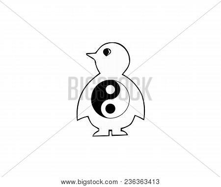 Flat icon penguin element with yang ying symbol. Vector illustration of flat icon emperor isolated on white background. stock photo