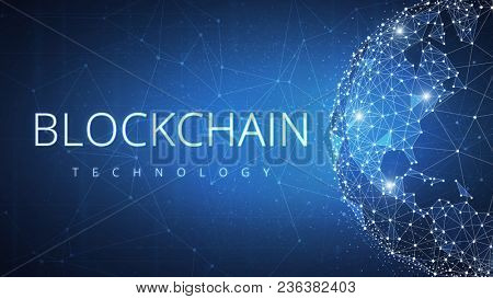 Blockchain technology on futuristic hud background with glowing polygon world globe and blockchain peer to peer network. Global cryptocurrency blockchain business banner concept. stock photo