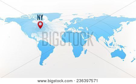 Travel destination New York concept. International journey. Red pointer on blue world map, with paths to one point. Vector illustration stock photo