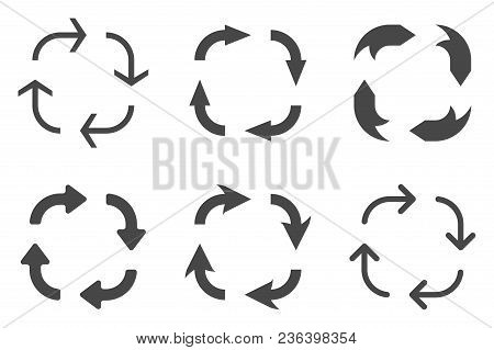 Arrows in circular motion. Arrow combinations. Vector illustration isolated on white background stock photo