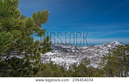 Stunning mountain winter landscape as seen from the top of Mount Lovcen in Lovcen National Park, Montenegro stock photo