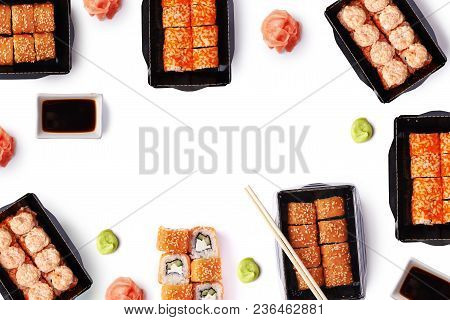 background of delivere maki sushi with copy space isolated on white background stock photo