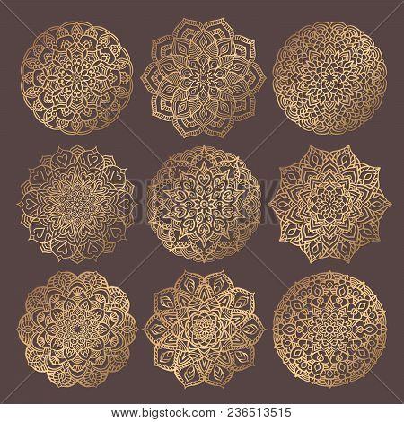Mandala Vector Design Element. Golden round ornaments. Decorative flower pattern. Stylized floral chakra symbol for meditation yoga logo. Complex flourish weave medallion. Tattoo prints collection stock photo