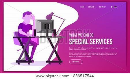 Website Page Vector. Business Agency. Front End Site Scheme. Cartoon Person. Protection Receipt. Illustration stock photo