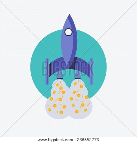 Vector illustration. EPS 10. Rocket, spaceship and bitcoin icon color. Rocket ship bitcoin is flying. Rocket bitcoin logo with bitcoin expulsion stock photo