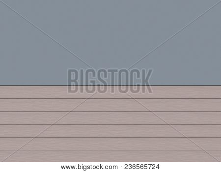 3d rendering. light borwn horizontal wood panels and empty blue copy space board. stock photo