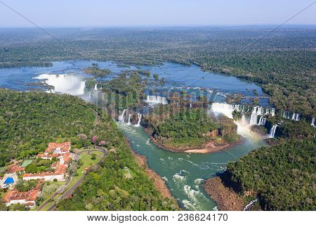 Helicopter view from Iguazu Falls National Park, Argentina. World heritage site. South America Adventure travel stock photo