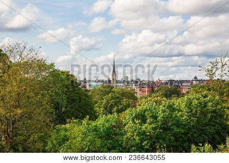 Stockholm city view from Djurgarden island, horizontal picture. stock photo