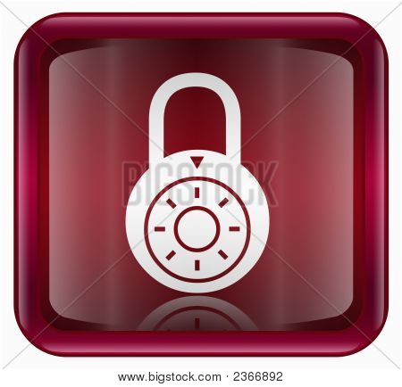 Lock off icon red isolated on white background stock photo