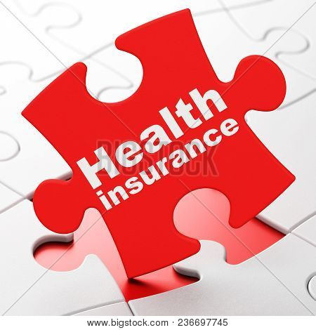 Insurance concept: Health Insurance on Red puzzle pieces background, 3D rendering stock photo
