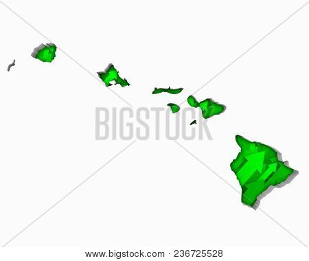 Hawaii HI Arrows Map Growth Increase On Rise 3d Illustration stock photo