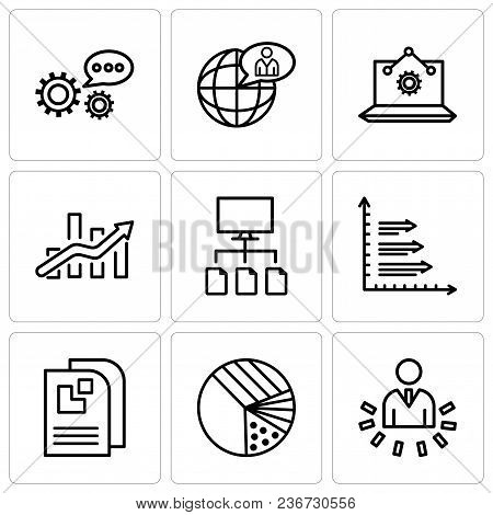 Set Of 9 simple editable icons such as User data analytics, Pie graphic with four areas, Data page, Analytics, Data flow, Bars chart, Laptop Analysis, Global user, 3d data analytics, can be used for stock photo