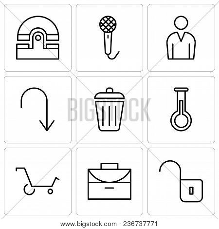 Set Of 9 simple editable icons such as Unlocked padlock, Office briefcase, Shopping cart, Erlenmeyer Flask, Dustbin, Arrow pointing to down, Male avatar, Voice recorder, Old phone, can be used for stock photo