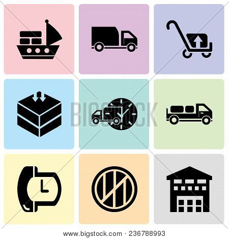 Set Of 9 simple editable icons such as Boxes piles sto inside a garage for delivery, Wood package box of square shape for delivery, Phone auricular and a clock, Delivery truck with packages behind, stock photo
