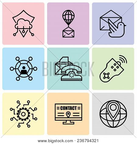 Set Of 9 simple editable icons such as World placeholder, Billboard, Settings, Remote control, Telephone, User, Mail bird, Air balloon, Protection, can be used for mobile, web UI stock photo