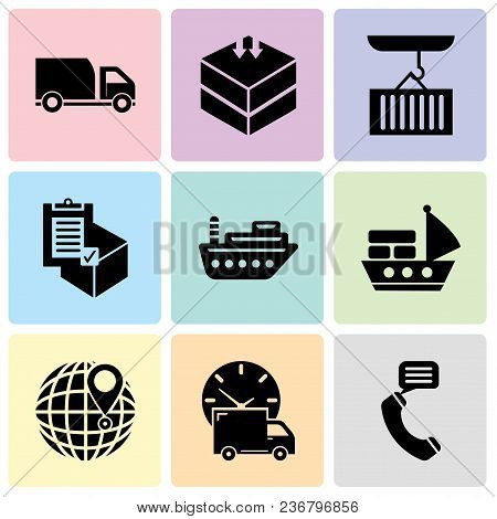 Set Of 9 simple editable icons such as Talking by phone auricular, Logistics delivery truck and clock, International delivery, Sea ship with containers, Sea ship, Commercial delivery, Container stock photo