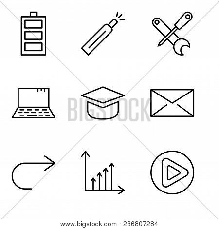Set Of 9 simple editable icons such as Play button, Benefit chart, Arrow pointing to right, Closed envelope, Add tool, Laptop, Screwdriver and wrench, Battery level, Battery level, can be used for stock photo
