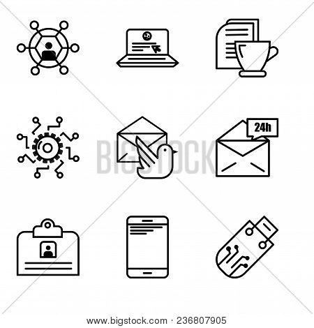 Set Of 9 simple editable icons such as Pendrive, Smartphone, Contact ID Card, Mail 24 hours, Mail bird, Settings, Mail and tea, Laptop and mail, User, can be used for mobile, web UI stock photo