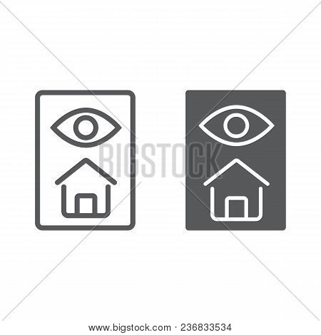 Home inspection line and glyph icon, real estate and home, inspect sign vector graphics, a linear pattern on a white background, eps 10. stock photo