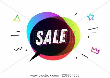Sale. Banner, speech bubble, poster and sticker concept, geometric style with text SALE. Icon message speech bubble Sale with cloud talk for banner, poster, web. White background. Vector Illustration stock photo