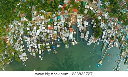 Morning aerial and video surveying of the city of Koron. Palawan. Philippines stock photo
