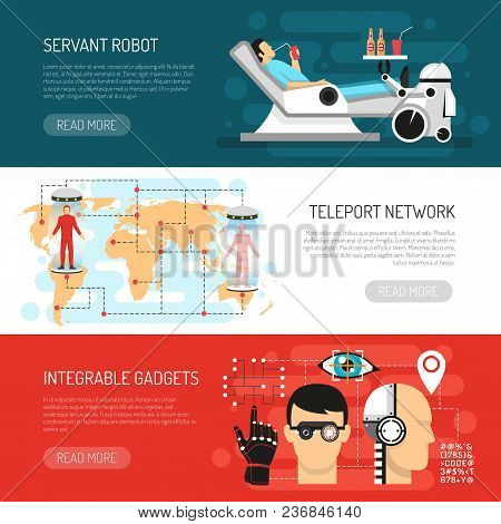 Futurology postulations flat horizontal banners website design with teleport network robotic housekeper servant and gadgets vector illustration stock photo