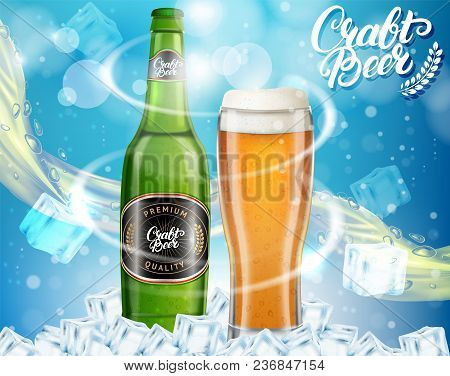 Vector realistic dark craft beer alcoholic drink brand glass bottle and glass of beer on blue sparkling background. Craft bottled beer advertisement design template. stock photo
