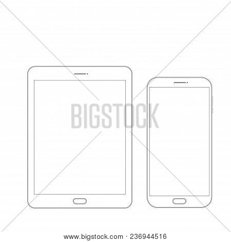 Outline drawing tablet and smartphone. Elegant thin line style design stock photo
