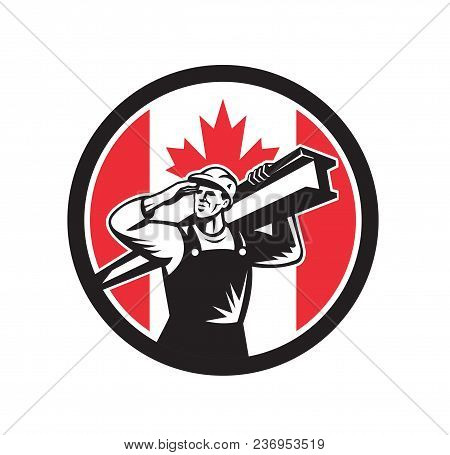Icon retro style illustration of a Canadian construction worker carrying an I-beam on shoulder with Canada maple leaf flag set inside circle on isolated background. stock photo