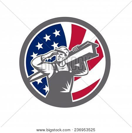 Icon retro style illustration of an American construction worker carrying an I-beam on shoulder and saluting with United States of America USA star spangled banner or stars and stripes flag in circle. stock photo