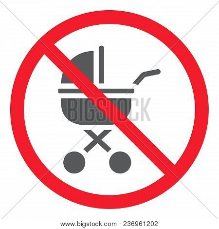 No Baby Carriage glyph icon, prohibition and forbidden, no stroller sign vector graphics, a solid pattern on a white background, eps 10. stock photo