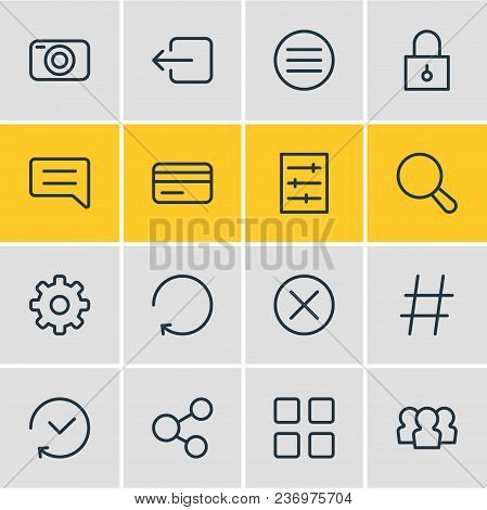 Vector illustration of 16 annex icons line style. Editable set of padlock, thumbnails, hashtag and other icon elements. stock photo