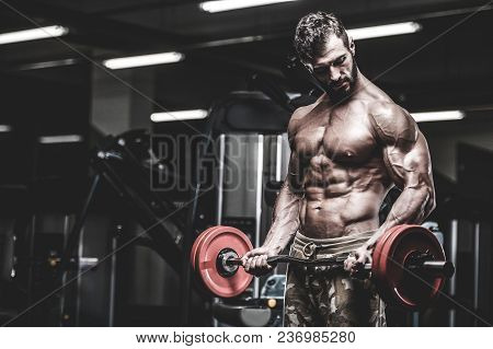Handsome young fit muscular caucasian man of model appearance workout training in the gym gaining weight pumping up muscle and poses fitness and bodybuilding sport nutrition concept stock photo
