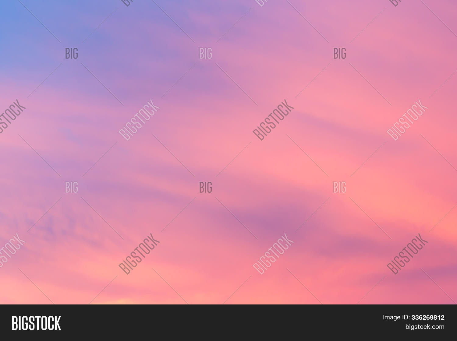 Abstract fantasy aerial view pastel background, Pink sunlight on sweet colorful sky and purple cloud before sunset
