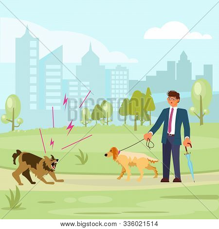 Man walks with a dog in the park, a huge aggressive mongrel attacks. Bad luck and stressful situations concept. Flat Art Vector illustration stock photo