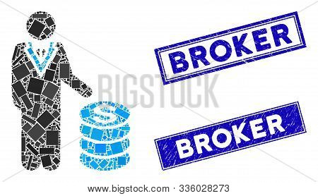 Mosaic businessman icon and rectangular Broker rubber prints. Flat vector businessman mosaic icon of scattered rotated rectangular elements. Blue Broker seal stamps with rubber texture. stock photo