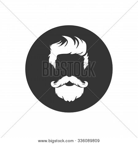 Barber shop isolated vintage label badge emblem. White icon on gray. Vector stock photo