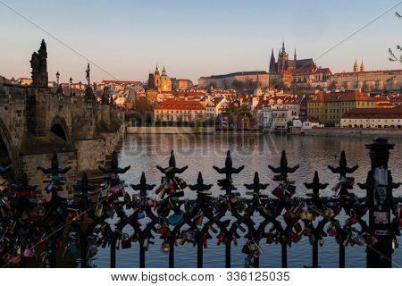 Panorama of Hradcany at sunrise, Czech Republic stock photo