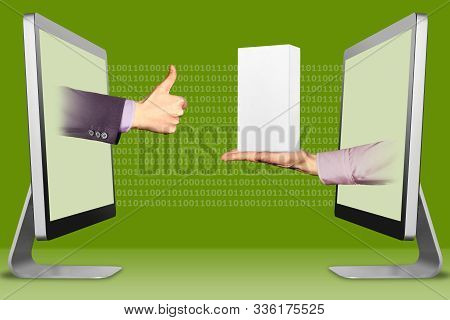 technology concept, hands from computers. thumbs up, like and hand with white small cell phone box . 3d illustration stock photo