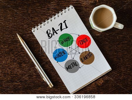 Ba-Zi. The Four Pillars of Destiny, Chinese astrological symbols in notebook, pen and cup of coffe. Elements of feng shui stock photo