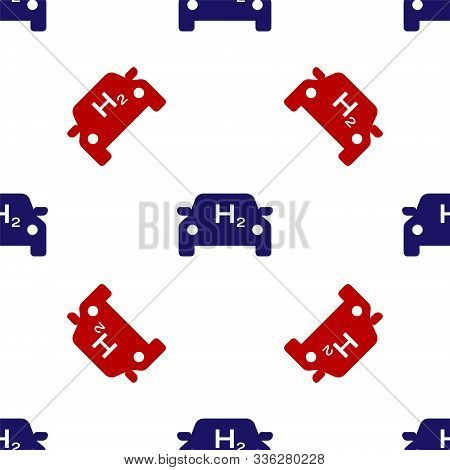 Blue and red Hydrogen car icon isolated seamless pattern on white background. H2 station sign. Hydrogen fuel cell car eco environment friendly zero emission. Vector Illustration stock photo