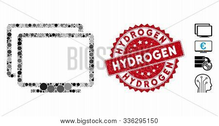 Mosaic computers icon and rubber stamp seal with Hydrogen text. Mosaic vector is created with computers icon and with randomized spheric spots. Hydrogen stamp seal uses red color, stock photo