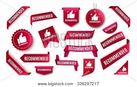 Recommended tag isolated. Vector red label or sticker. Recommendation sign banner stock photo