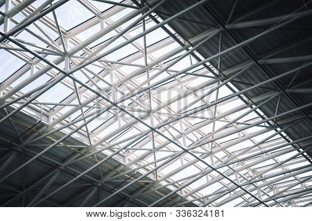 Metal construction on the Top of Airport. Architecture from steel stock photo