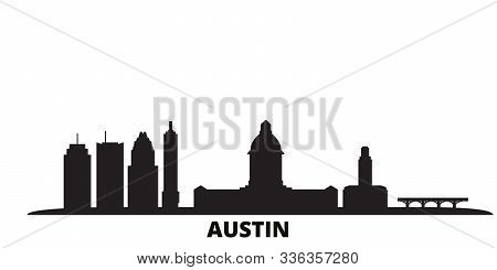 United States, Austin city skyline isolated vector illustration. United States, Austin travel black cityscape stock photo