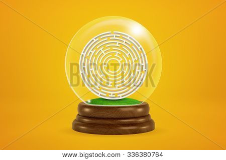 3d rendering of maze in glass snow globe on yellow background stock photo