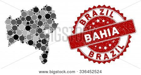 Mosaic Bahia State map and round seal. Flat vector Bahia State map mosaic of randomized round items. Red seal stamp with grunged surface. Designed for political and patriotic proclamations. stock photo